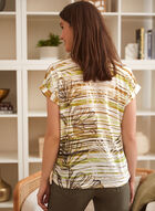Striped Floral Print Tee, Green
