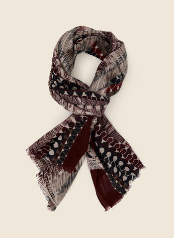 Abstract Print Scarf, Red,  fall winter 2020, scarf, accessories, abstract print