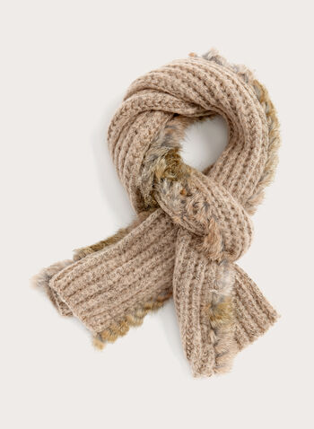 Fur Trim Knit Scarf, Brown, hi-res
