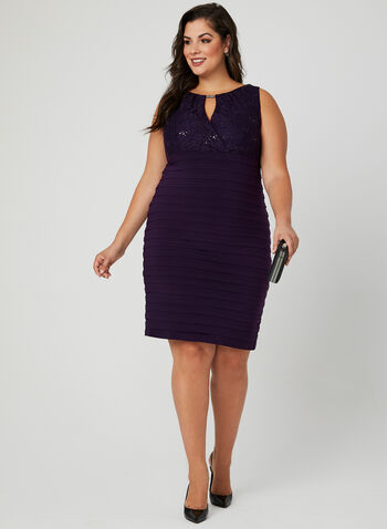 Ribbed Empire Waist Dress, Purple, hi-res