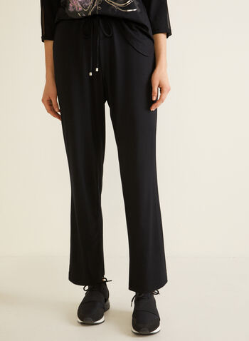 Straight Leg Pull-On Pants, Black,  pants, straight, drawstring, pull-on, pockets, fall winter 2020