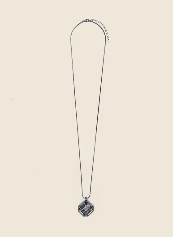 Collier à pendentif pierre engrillagée, Gris
