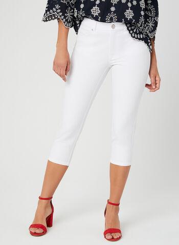 Signature Fit Slim Leg Capri Pants, White, hi-res
