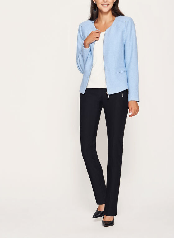 Wool Blend Cropped Jacket, Blue, hi-res