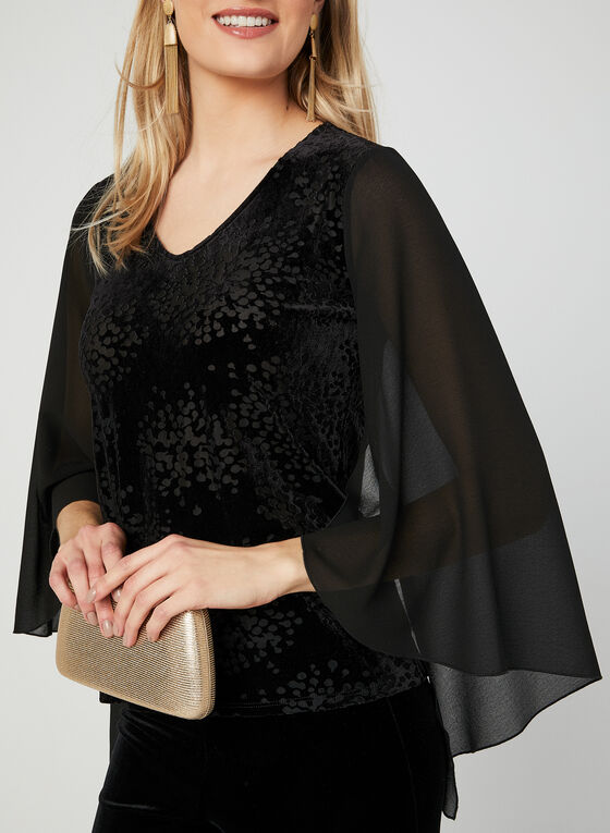Angel Sleeve Velour Burnout Blouse, Black, hi-res