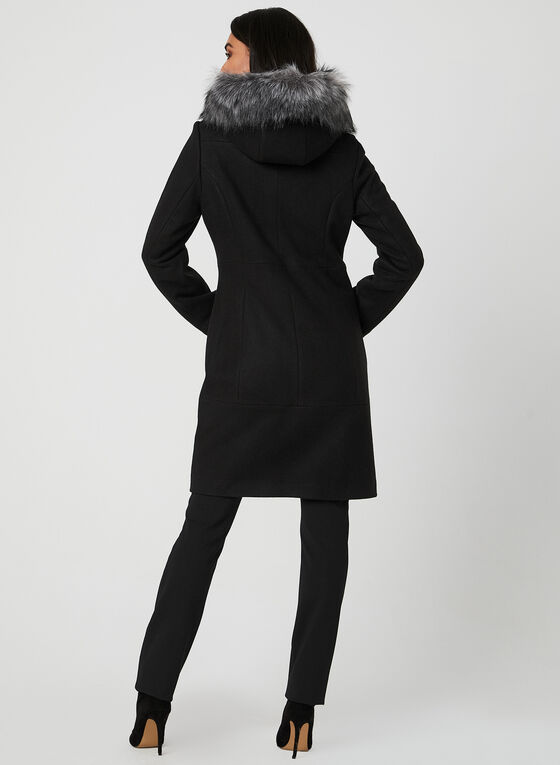 Hooded Toggle Coat, Black, hi-res