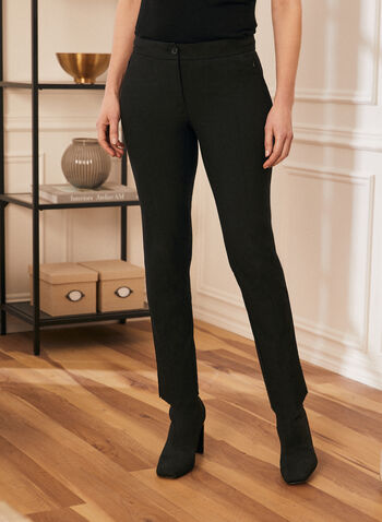 City Fit Mid Rise Pants, Black,  pants, contour waist, mid rise, slim leg pants, comfortable, fall winter 2020