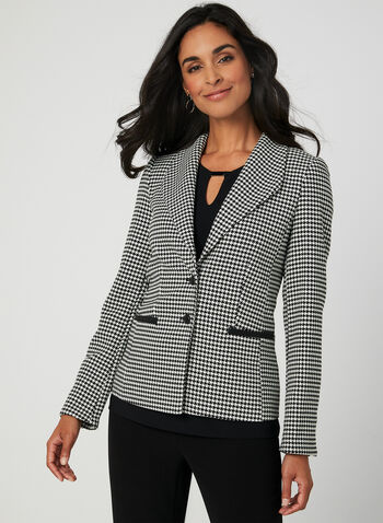 Houndstooth Print Blazer, Black,  blazer, houndstooth print, long sleeves, fall 2019, winter 2019