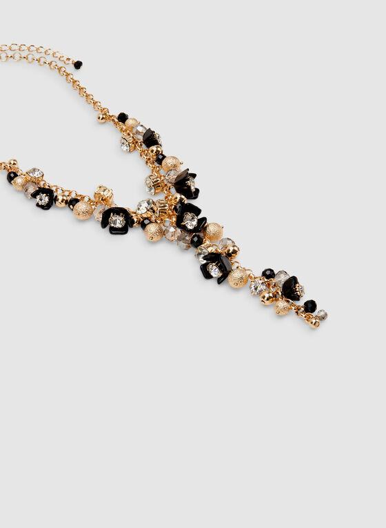 Floral & Crystal Charm Necklace, Black