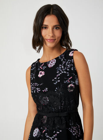 Floral Print Fit & Flare Dress, Black, hi-res,  crepe, sleeveless, scoop neck, lace, exposed zipper, stretchy, fall 2019, winter 2019