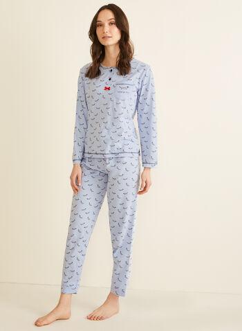 Karmilla Lingerie - Dog Print Pyjama Set, Blue,  pyjama, pyjama set, dog print, printed pyjama, pyjama top, pyjama bottom, fall 2019, winter 2019