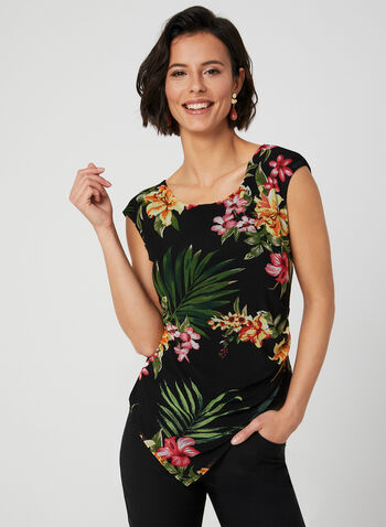 Tropical Print Mesh Top, Black, hi-res