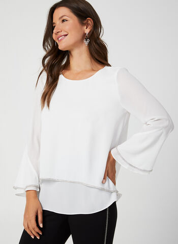 Rhinestone Detail Crepe Blouse, Off White,  blouse, crepe, flutter sleeves, 3/4 sleeves, rhinestones, fall 2019, winter 2019