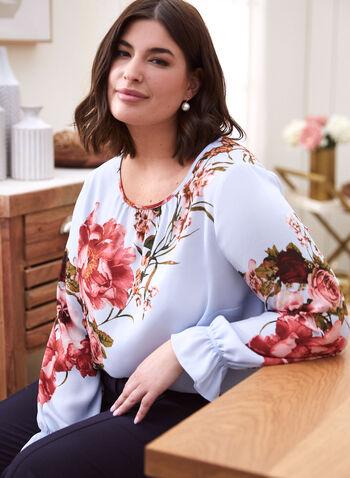 Floral Print Blouse , Blue,  spring summer 2021, floral print, blouse, top, scoop neck, long sleeve, smocked, smocking, detail, keyhole, rose print