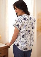Floral Print Linen Blouse, Blue