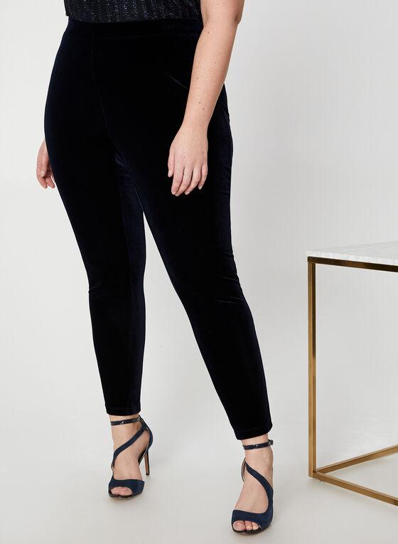 Pantalon en velours à jambe droite, Bleu