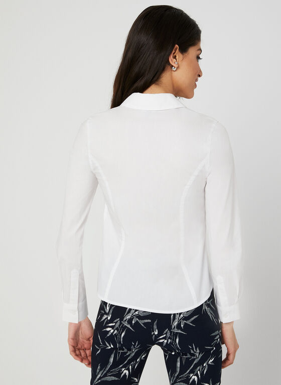Pleated Long Sleeve Blouse, White, hi-res