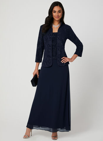 Alex Evenings - Glitter Dress & Jacket Set, Blue, hi-res,  2-piece, jacquard, sleeveless, spring 2019