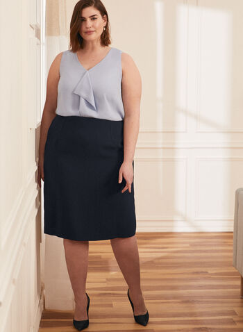 Straight Fit Pencil Skirt, Blue,  skirt, pencil, straight fit, slit, hemline, back slit, made in Canada, comfort, stretch, work, professional, spring summer 2021