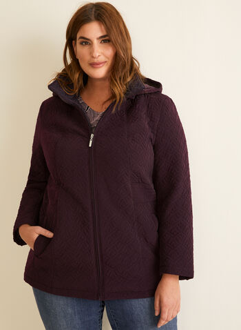 Quilted Raincoat, Purple,  outerwear, raincoat, jacket, quilted, hood, pockets, zip-up, spring summer 2020