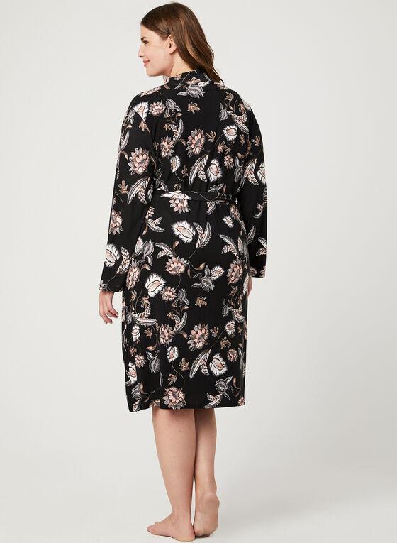Nuisette et robe de chambre fleuries, Gris, hi-res