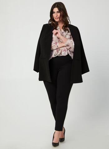 Blouse en mousseline fleurie, Multi, hi-res,  blouse, col V, manches longues, fleurs, pois, mousseline, automne hiver 2019