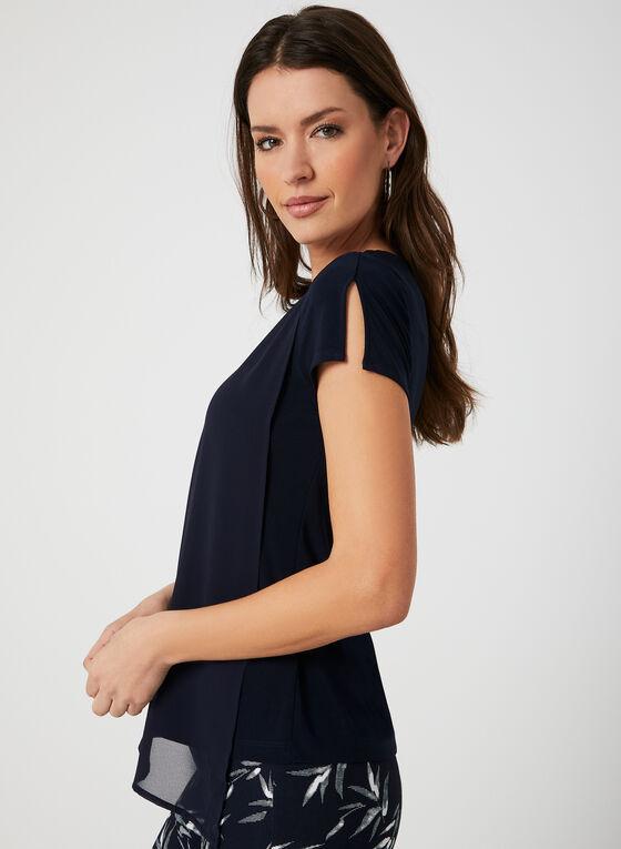 Layered Split Sleeve Top, Blue, hi-res