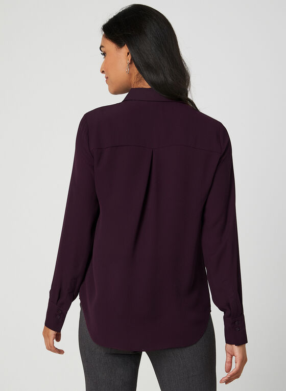 Long Sleeve Crepe Blouse, Purple