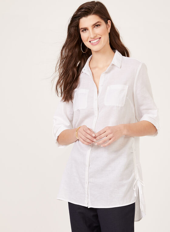 Button Front Linen Tunic, White, hi-res