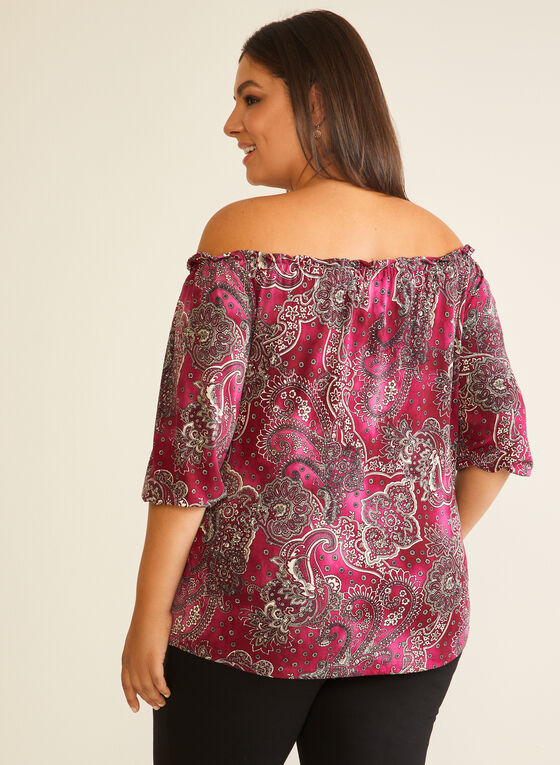Paisley Print Bardot Neckline Blouse, Purple