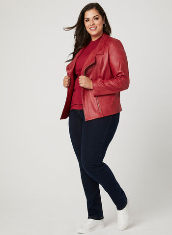 Vex - Cropped Faux Leather Jacket, Red, hi-res