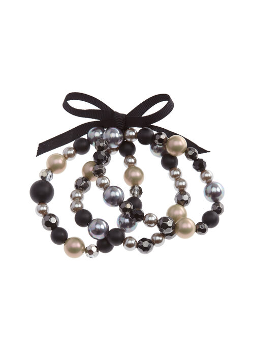 Stretch Beaded Bracelet Set, Black, hi-res