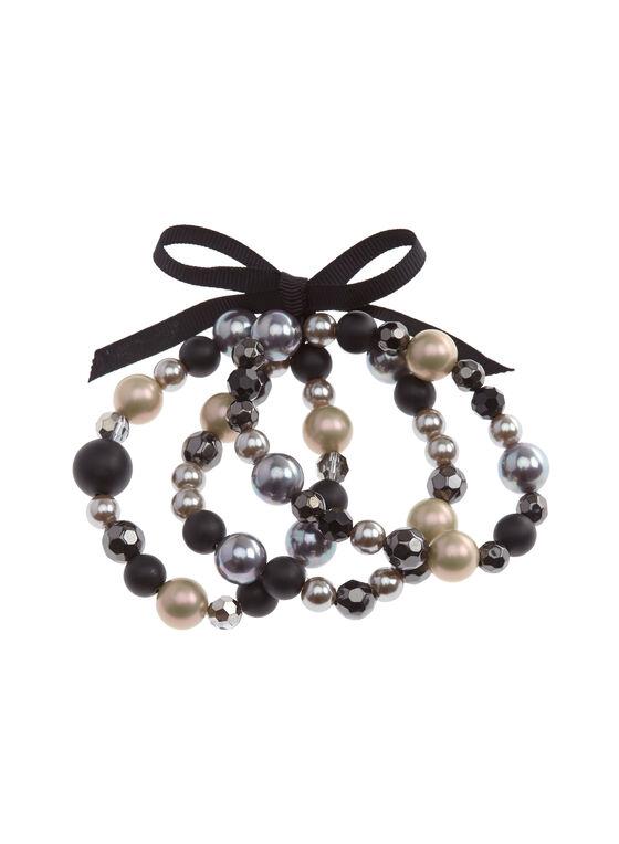 Bracelet 3 rangs nœud, perles nacrées et facettées, Noir, hi-res