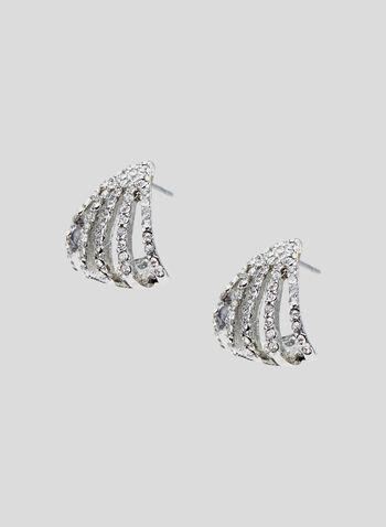 Boucles d'oreilles dôme à cristaux, Argent, hi-res