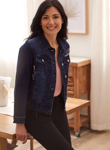 Veste en denim ornée, Bleu,  automne 2021, jean, denim, veste, boutons, perles, pierres, brillants, rhinestones, manches 3/4, manches longues, poches, col chemise