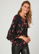 Floral Print ¾ Sleeve Top, Black, hi-res