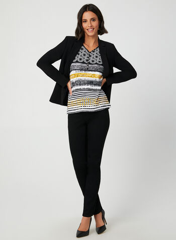 Mixed Print Top, Black, hi-res,  ¾ sleeves, 3/4 sleeves, cotton, crystals, buttons, v-neck, fall 2019, winter 2019