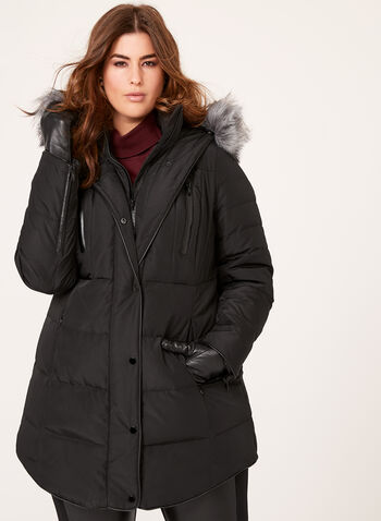 Faux Leather Trim Down Coat, Black, hi-res