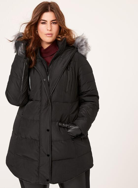 Manteau matelassé en duvet avec détail simili cuir, Noir, hi-res