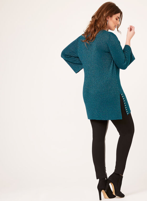 Knit Tunic Sweater With Metallic Detail, Blue, hi-res