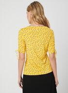 Dot Print ¾ Sleeve Top, Yellow, hi-res