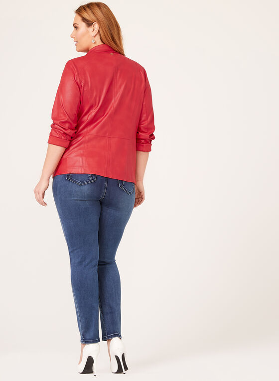 Vex - Open Front Faux Suede Jacket , Red, hi-res