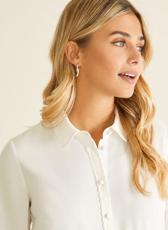 Lace Trim Button Front Blouse, White