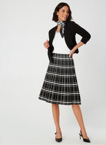 Charlie B - Jupe trapèze motif tartan, Noir, hi-res,  jupe, pull-on, trapèze, tartan, jacquard, automne hiver 2019