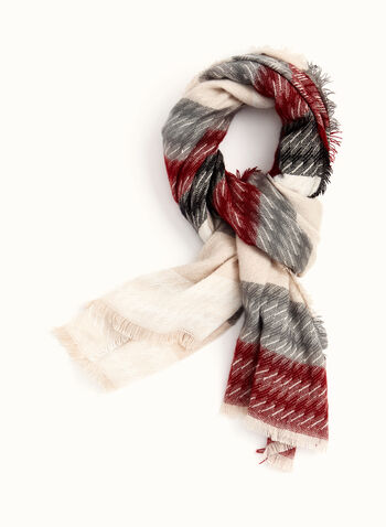 Fringed Stripe Print Scarf , Red, hi-res