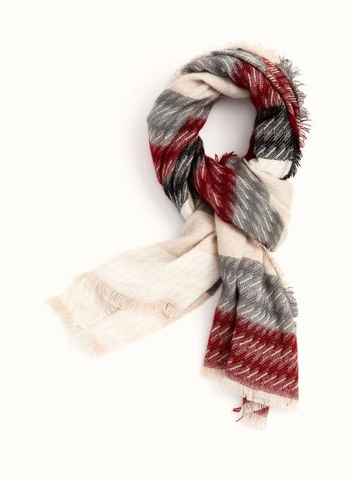 Fringed Stripe Print Scarf , Red, hi-res