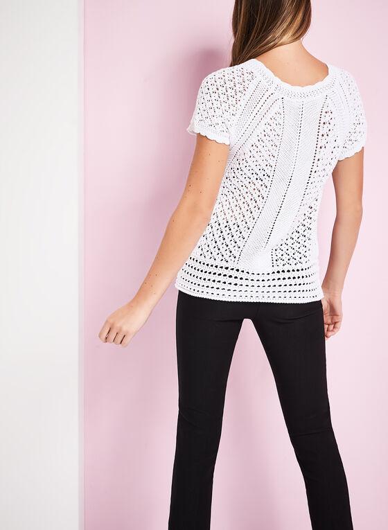 Crochet Knit Scoop Neck Sweater, White, hi-res