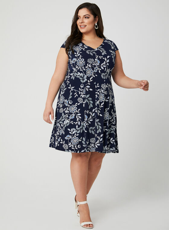 Floral Print Fit & Flare Dress, Blue