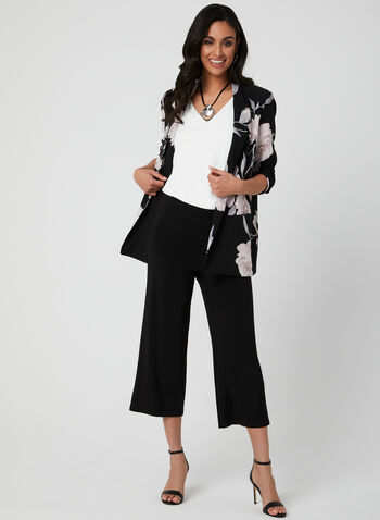 Wide Leg Capri Pants, Black, hi-res