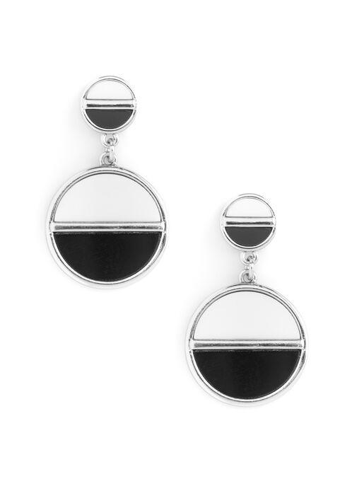 Boucles d'oreilles graphiques avec cercles bicolores, Noir, hi-res